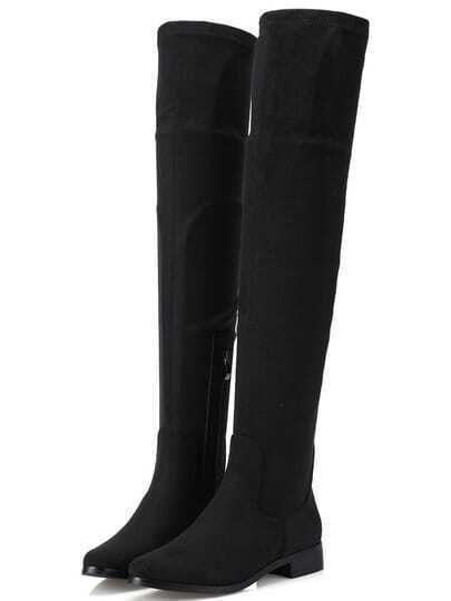 Black Round Toe Zipper Tall Boots pictures
