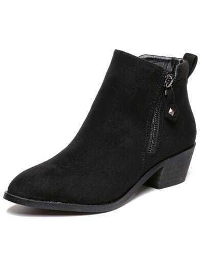 Black Zippers Low Heels Boots