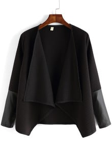 Black Contrast PU Drape Front Diamond Pattern Coat