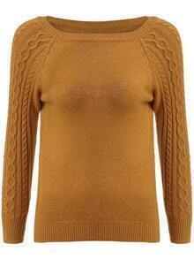 Khaki Round Neck Cable Knit Slim Sweater