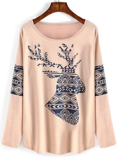Pink Round Neck Deer Print Loose T-Shirt
