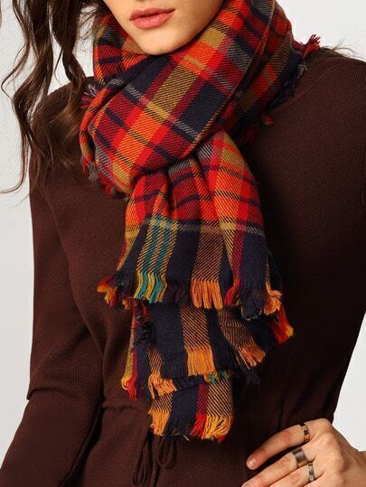 Colour Plaid Fringe Scarve