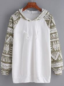 Khaki White Hooded Tribal Print Sweatshirt