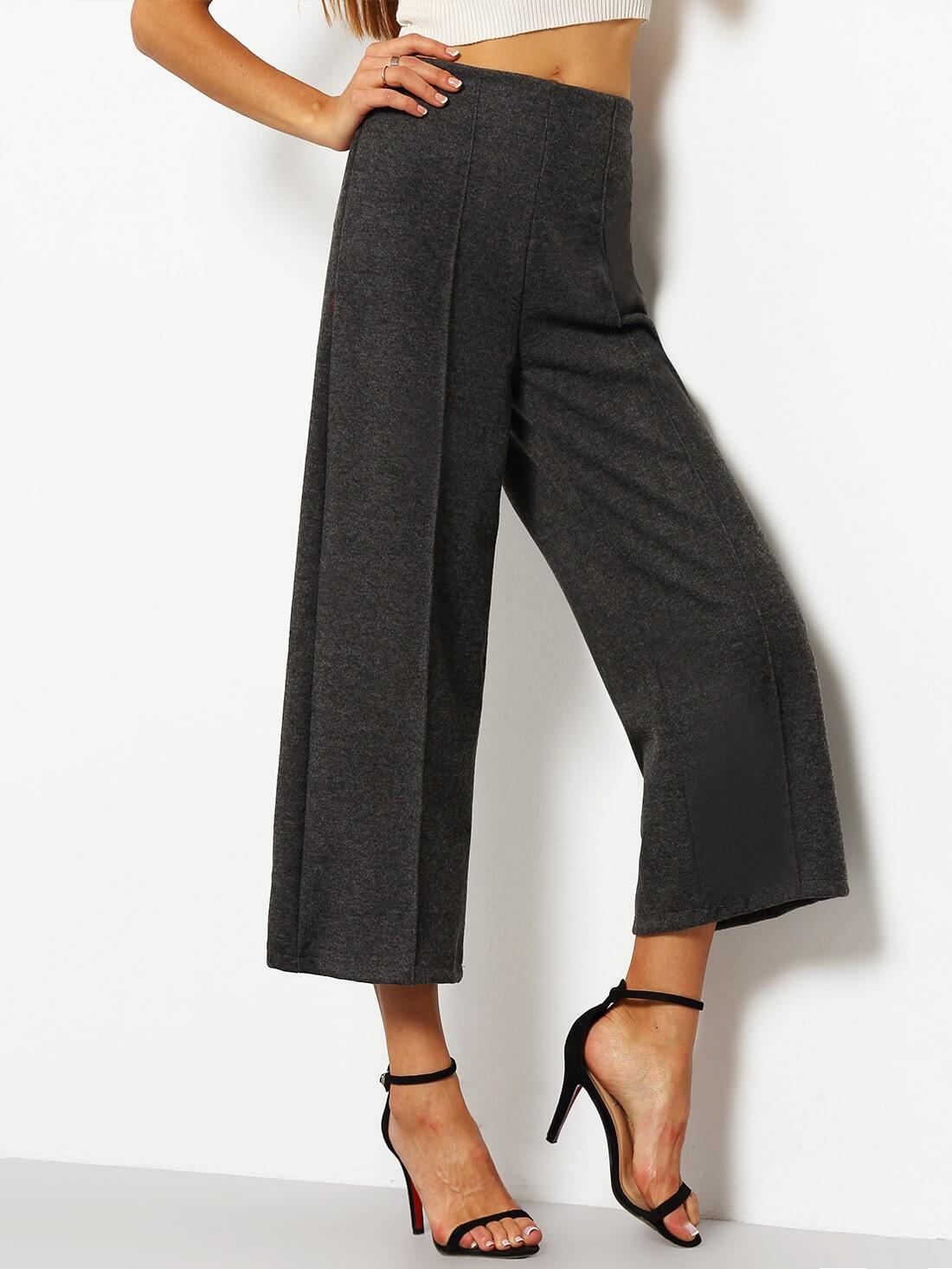 pantalon patte d 39 l phant taille haute gris french shein sheinside. Black Bedroom Furniture Sets. Home Design Ideas