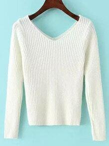 White V Neck Slim Crop Knitwear