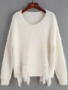 White Round Neck Faux Fur Embellished Sweater