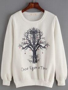 White Round Neck Trss Print Sweatshirt