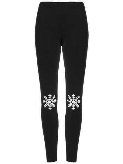 Black Snowflake Embroidered Leggings