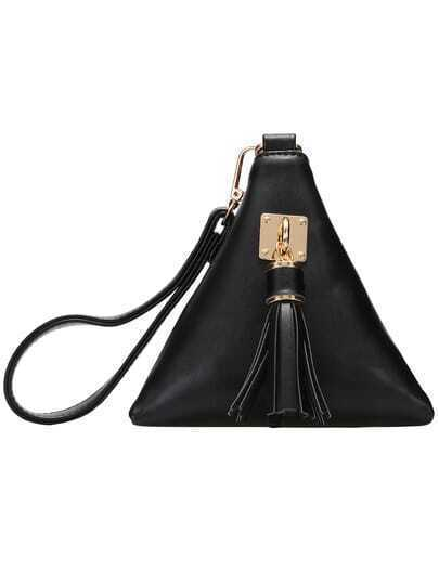 Black Tassel Triangle PU Clutch Bag pictures