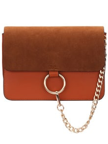 Brown Chain Ring Embellished Satchel Bag