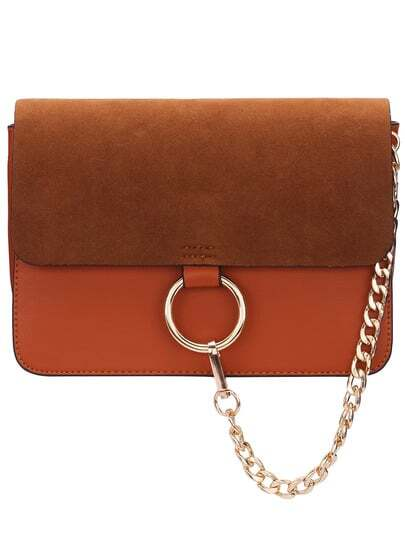Brown Chain Ring Embellished Satchel Bag pictures