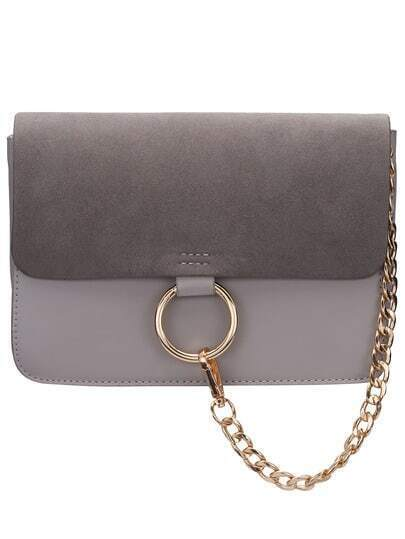 Grey Chain Ring Embellished Satchel Bag