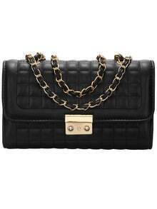 Black Plaid Chain Satchel Bag