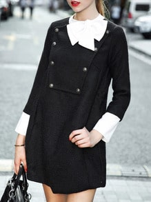 Black Patch Front Contrast Bow And Cuff Dress