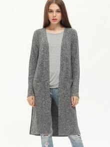 Grey Pocket Side Slit Loose Cardigan