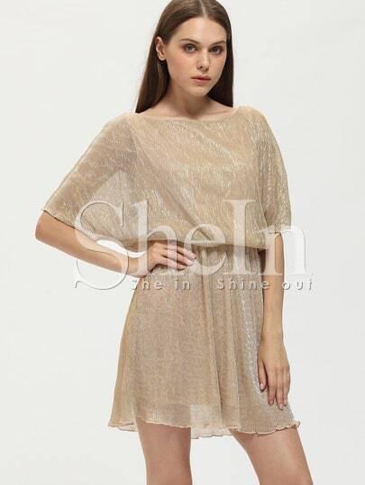 Batwing Sleeve Off The Shoulder Glitter Dress