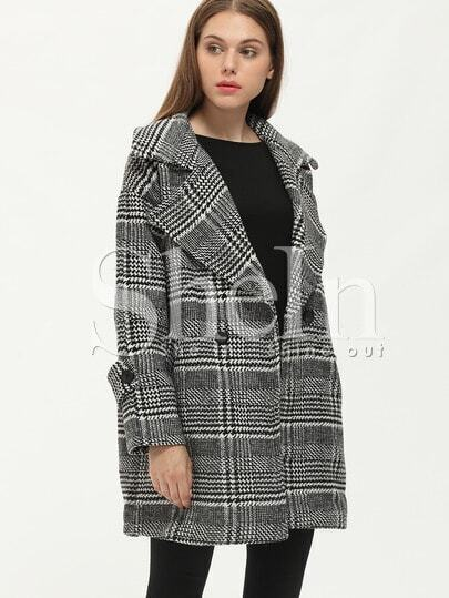 Black White Houndstooth Notch Lapel Coat