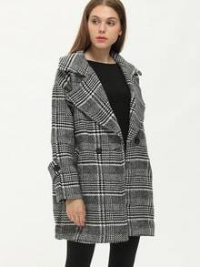 Black White Houndstooth Notch Lapel Coat -SheIn(Sheinside)
