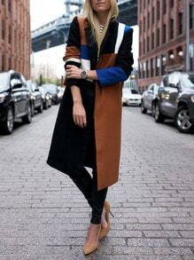Khaki Black Notch Lapel Color Block Long Coat