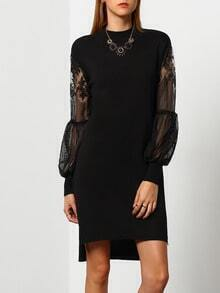 Black Mock Neck Sheer Mesh Sweater Dress