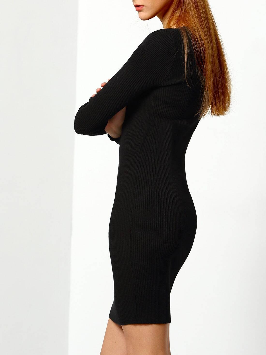 strickkleid langarm mit v ausschnitt schwarz german shein sheinside. Black Bedroom Furniture Sets. Home Design Ideas