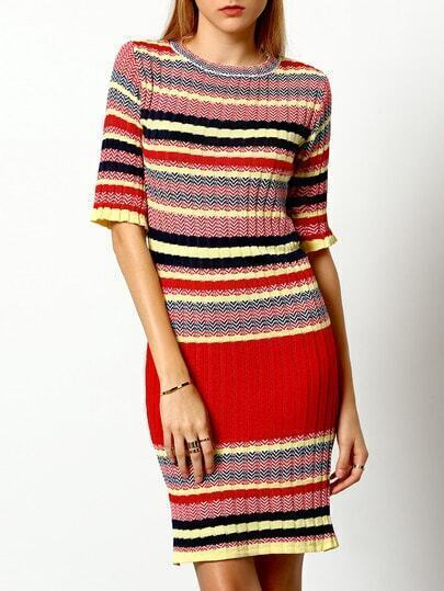 Colour Round Neck Striped Sweater Dress