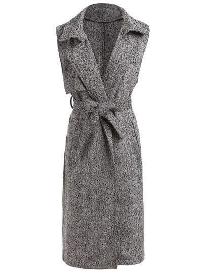 Grey Lapel Sleeveless Tie-Waist Coat
