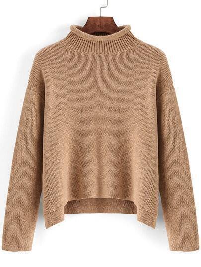 Khaki High Neck Dip Hem Crop Sweater