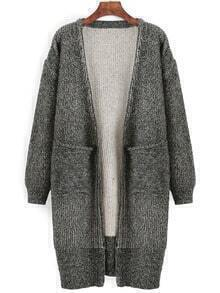 Grey Long Sleeve Pockets Loose Sweater Coat