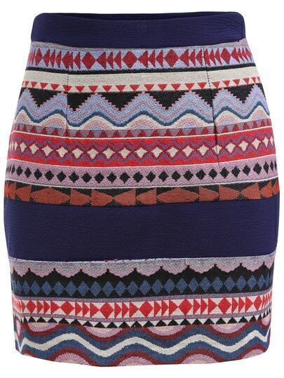Colour Slim Tribal Print Skirt