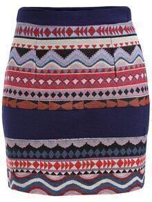 Colour Slim Tribal Print Skirt