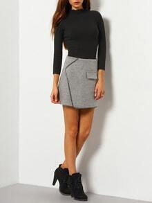 Grey Pocket Slim Asymmetrical Skirt