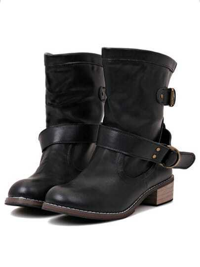 Black Round Toe Buckle Velvet Short Boots