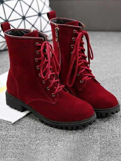 Wine Red Side Zipper Frosted Short Boots