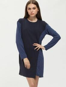 Navy Round Neck Color Block Dress