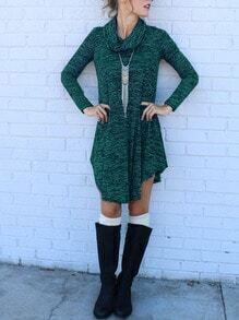 Dark Green Cowl Neck Curve Hem Dress