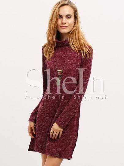 Burgundy Turtleneck T-shirt Dress