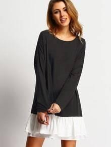Black Round Neck Contrast White Flounce Hem Dress