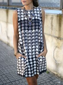 Black White Houndstooth Pockets Shift Dress