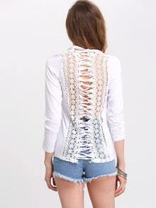White Criss Cross Lace Eyelet Back Blouse