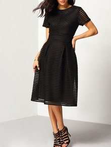 Black Short Sleeve Hollow Out Flippy Dress