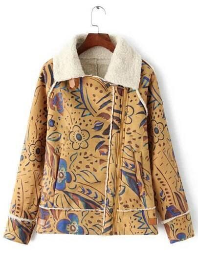 Colour Lapel Long Sleeve Floral Coat