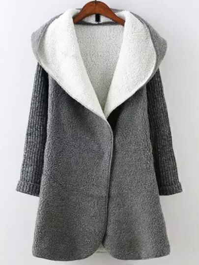 Grey Hooded Long Sleeve Pockets Loose Coat