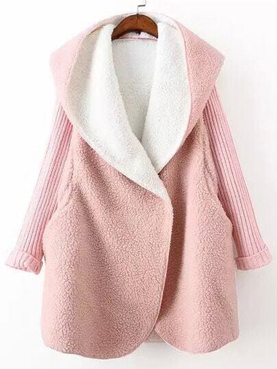 Pink Hooded Long Sleeve Pockets Loose Coat