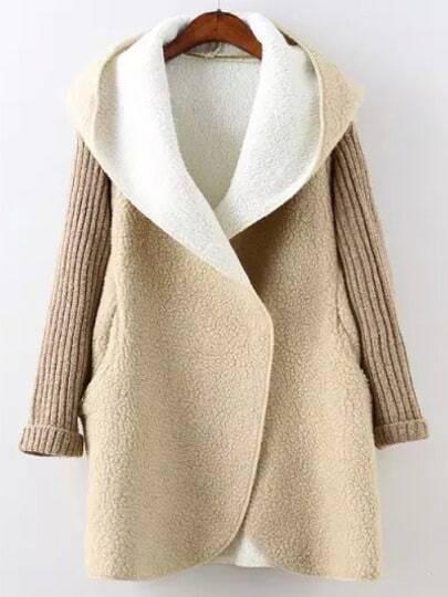Apricot Hooded Long Sleeve Pockets Loose Coat