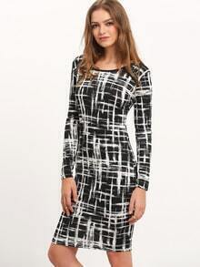 Black White Round Neck Plaid Slim Dress