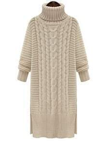White High Neck Cable Knit Split Sweater Dress
