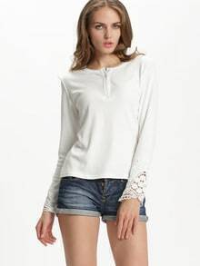 White Long Sleeve Floral Crochet Buttons Top