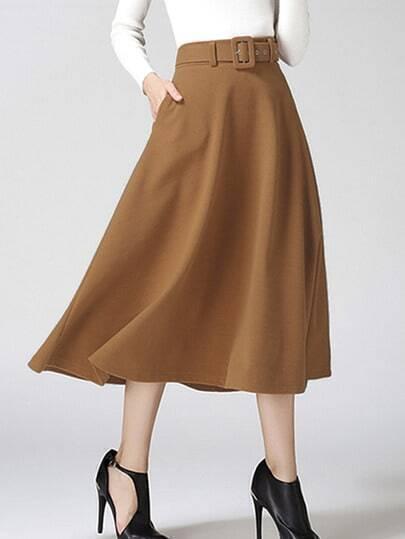 khaki pleated skirt shein sheinside