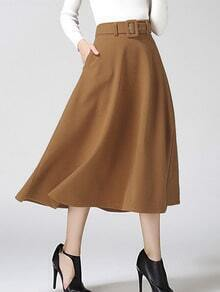 Khaki Pleated Long Skirt